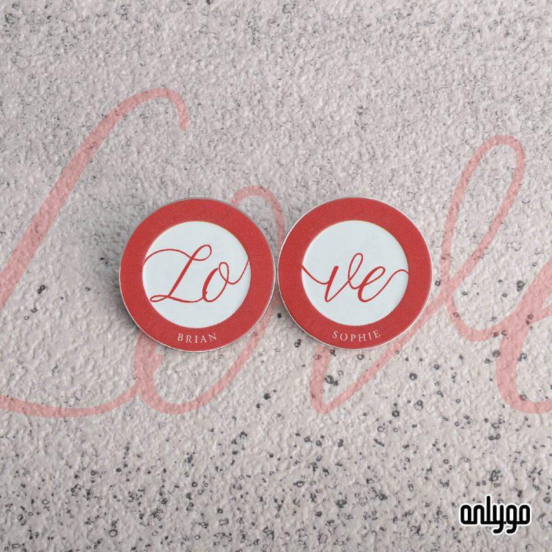 Love 情侶客製金屬圓形徽章